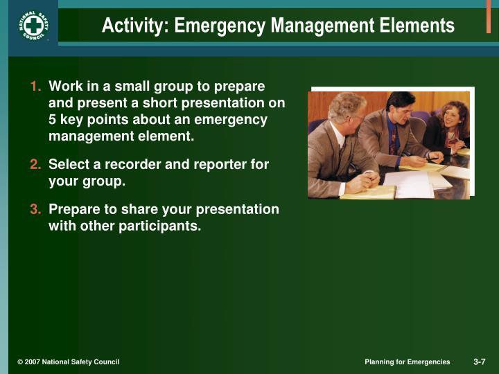Activity: Emergency Management Elements