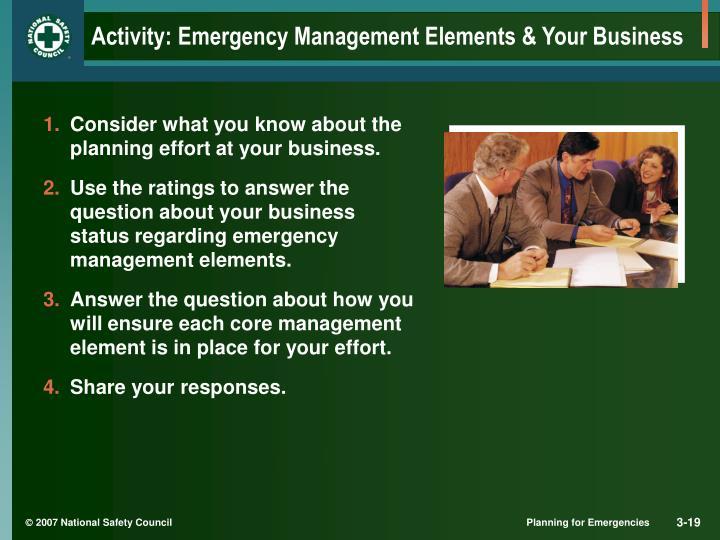 Activity: Emergency Management Elements & Your Business
