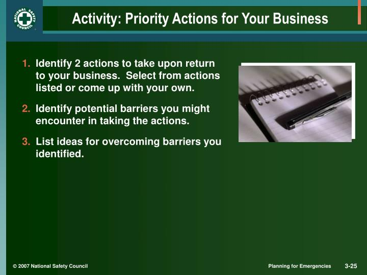 Activity: Priority Actions for Your Business