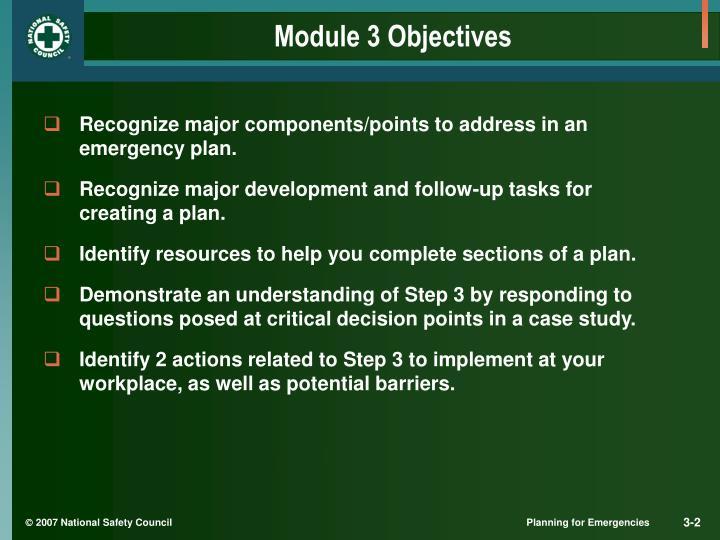 Module 3 objectives