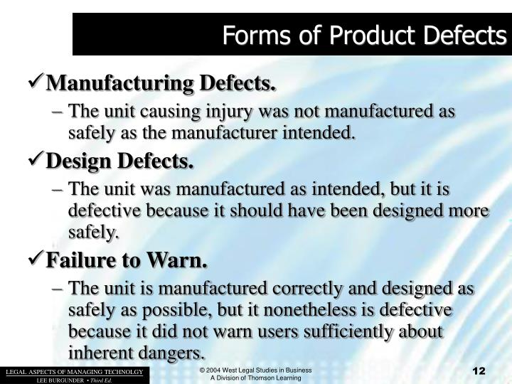 Forms of Product Defects