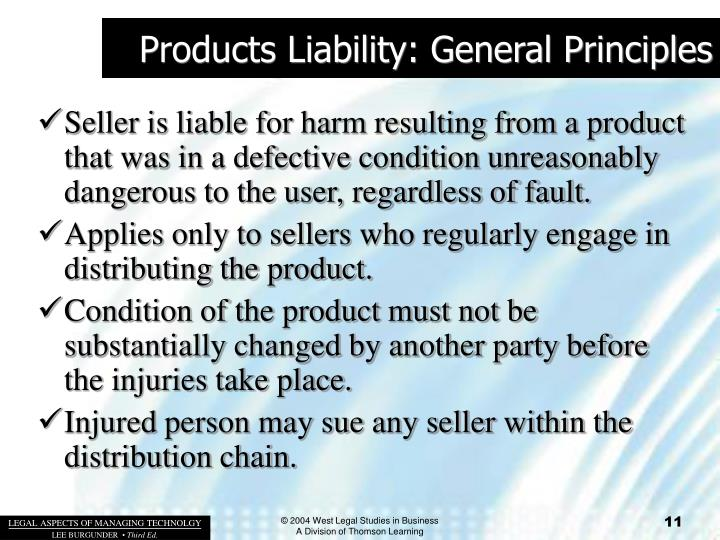 Products Liability: General Principles