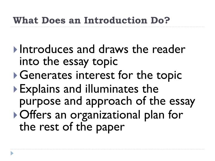 components of essay introduction Anything you write will benefit from these simple parts of an essay: purpose and  thesis title introduction body of information conclusion 01.