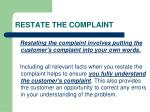 restate the complaint