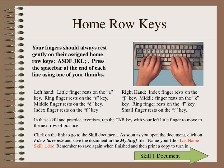 Ppt Home Row Keys Powerpoint Presentation Free Download