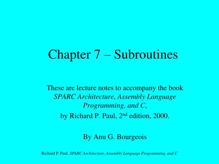 chapter 7 subroutines