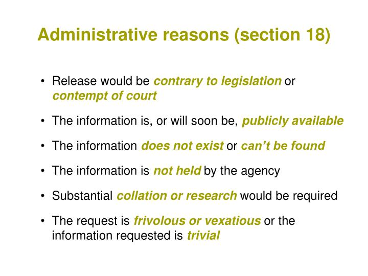 Administrative reasons (section 18)