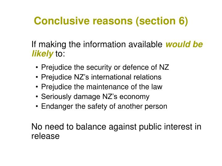 Conclusive reasons (section 6)