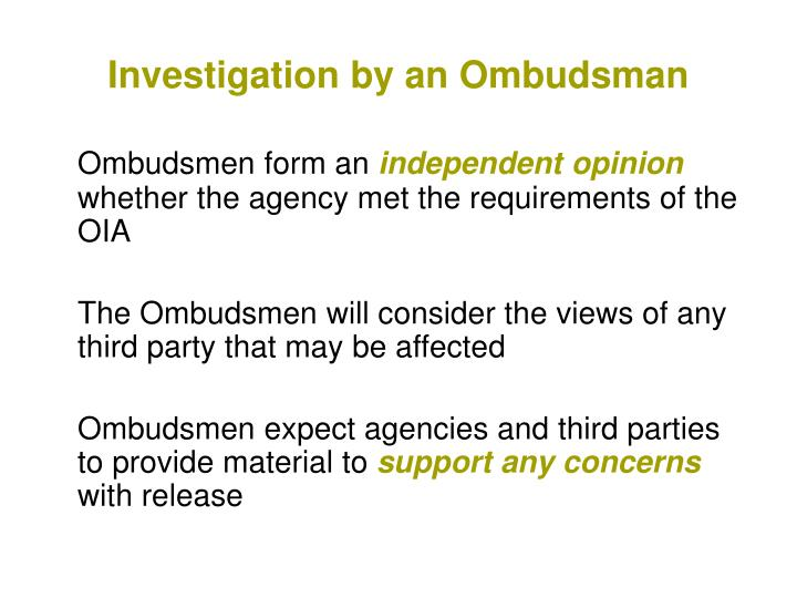 Investigation by an Ombudsman