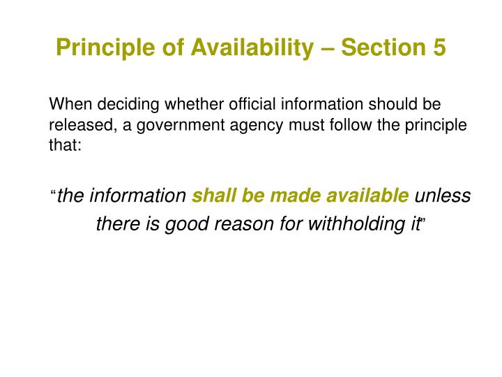 Principle of Availability – Section 5
