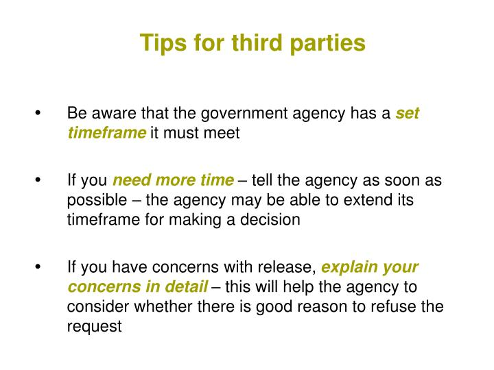 Tips for third parties