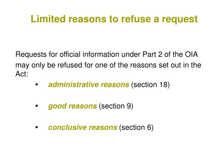 Limited reasons to refuse a request