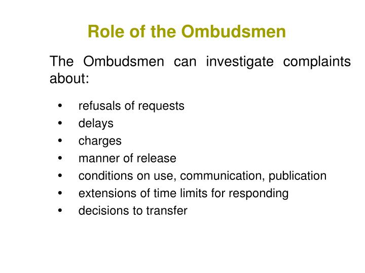 Role of the Ombudsmen