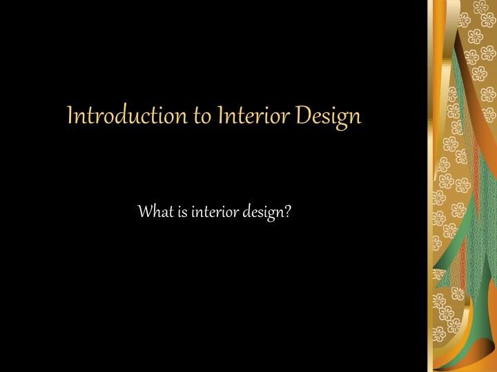 introduction to interior design n.