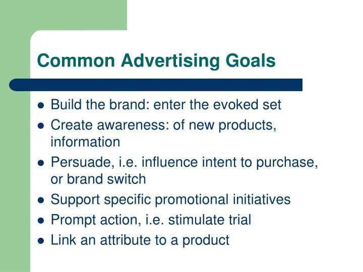 Common Advertising Goals