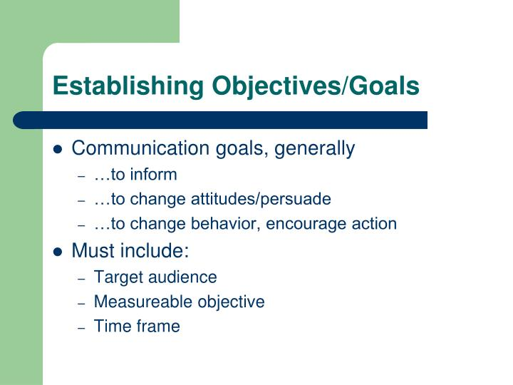 Establishing Objectives/Goals