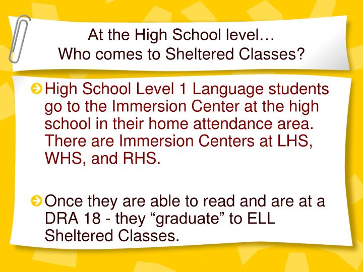 At the High School level…