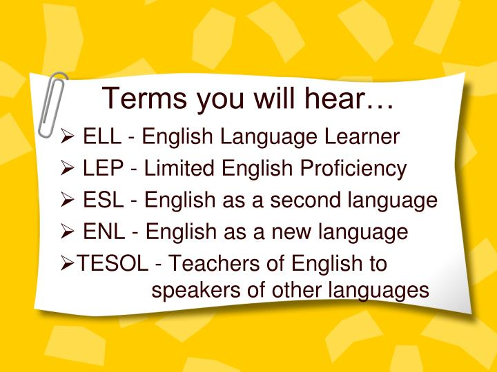 Terms you will hear