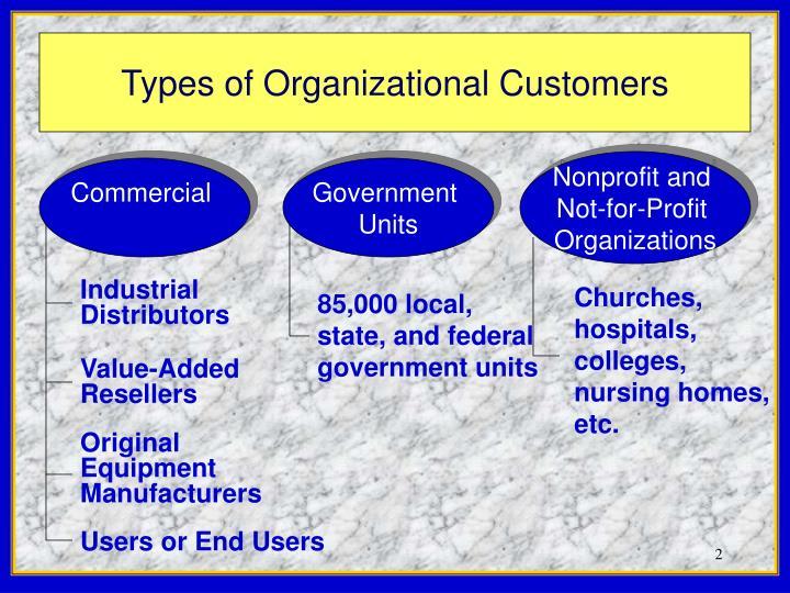Types of organizational customers