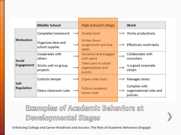 Examples of Academic Behaviors at Developmental Stages