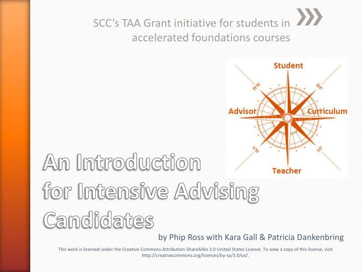 Scc s taa grant initiative for students in accelerated foundations courses