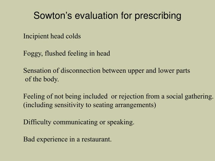 Sowton's evaluation for prescribing