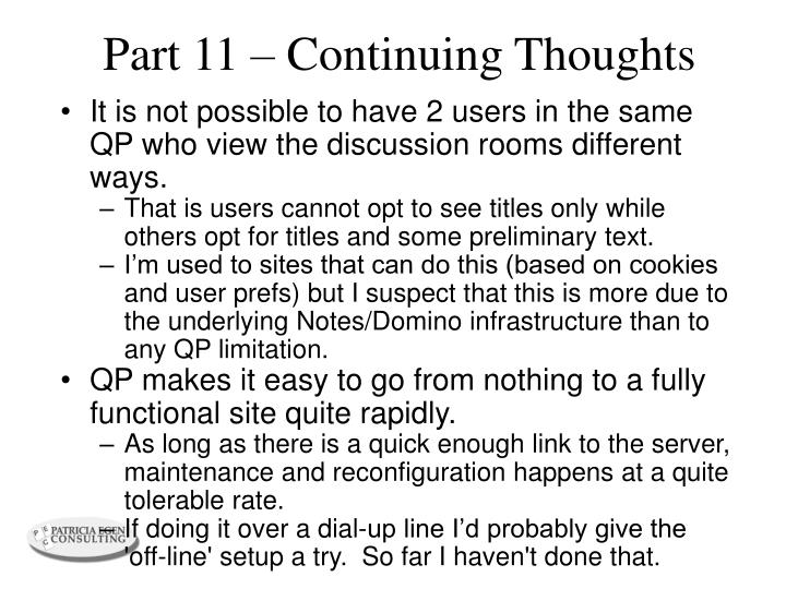 Part 11 – Continuing Thoughts