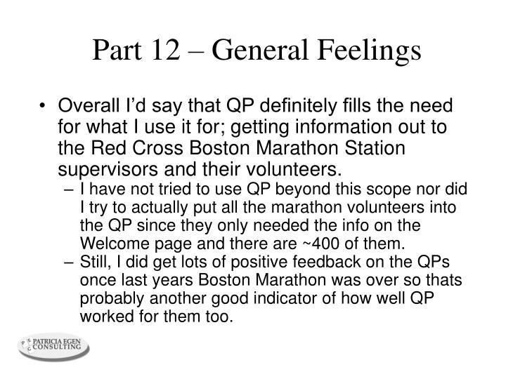 Part 12 – General Feelings