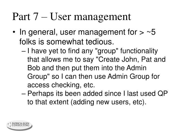 Part 7 – User management