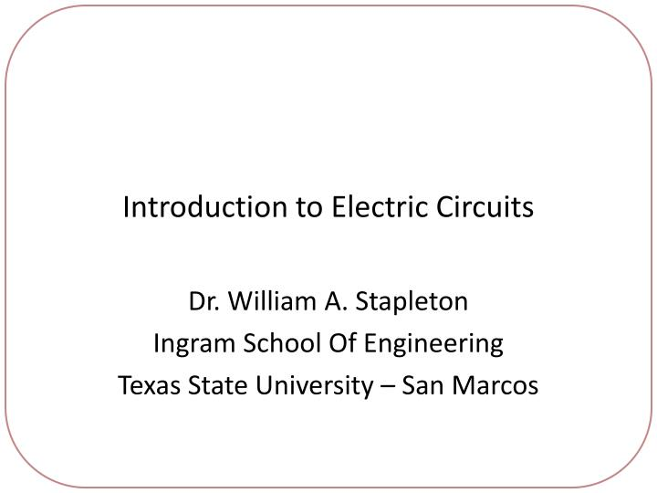 introduction to electric circuits n.