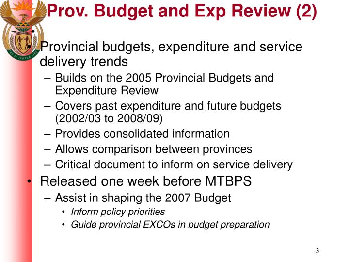 Prov budget and exp review 2