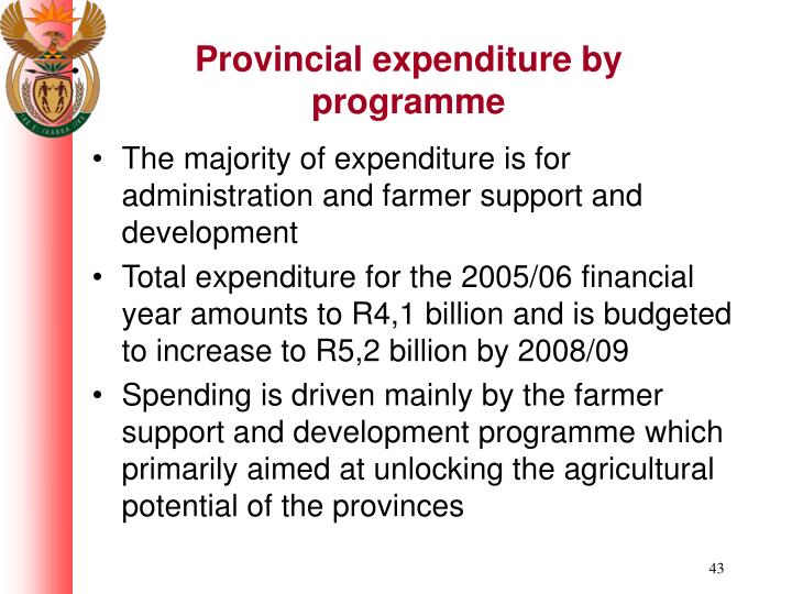 Provincial expenditure by programme