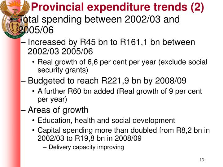 Provincial expenditure trends (2)