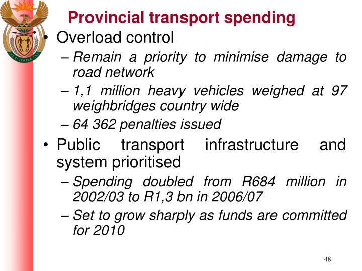 Provincial transport spending