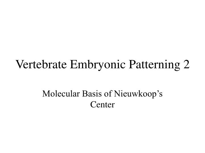 PPT - Vertebrate Embryonic Patterning 2 PowerPoint