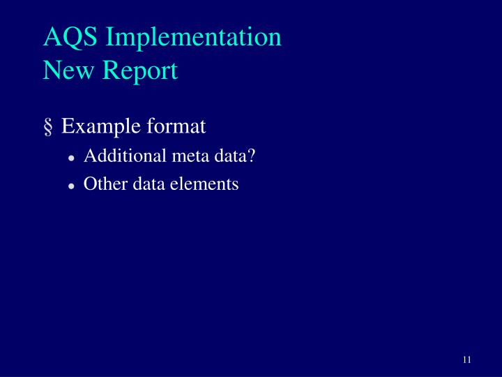 AQS Implementation