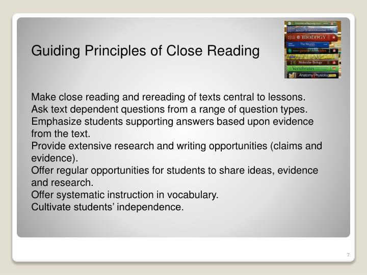Guiding Principles of Close Reading