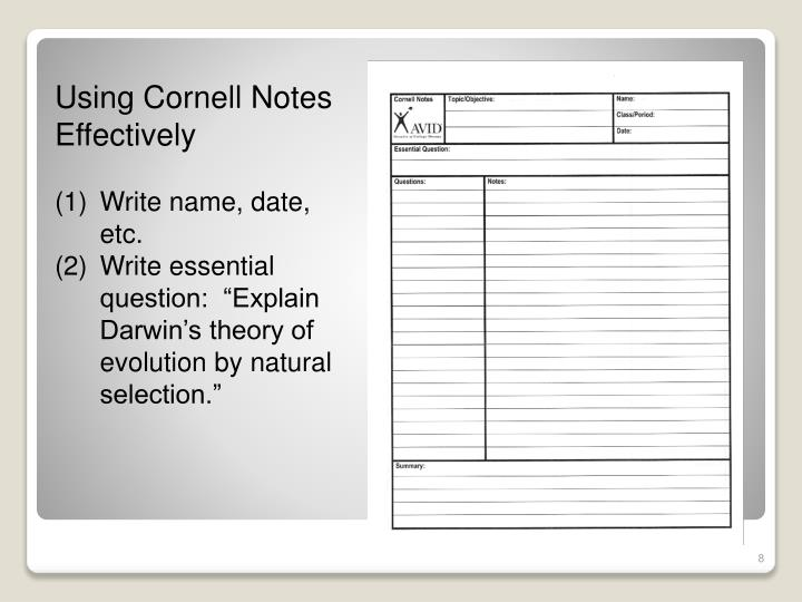 Using Cornell Notes Effectively