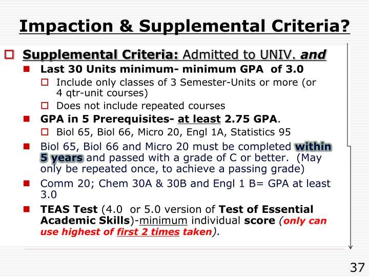 Impaction & Supplemental Criteria?