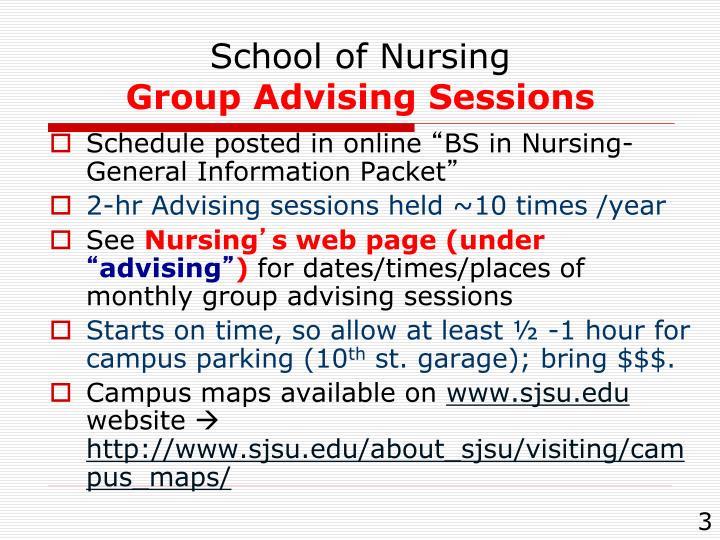 School of nursing group advising sessions
