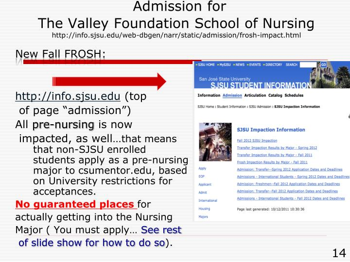 Admission for                                      The Valley Foundation School of Nursing