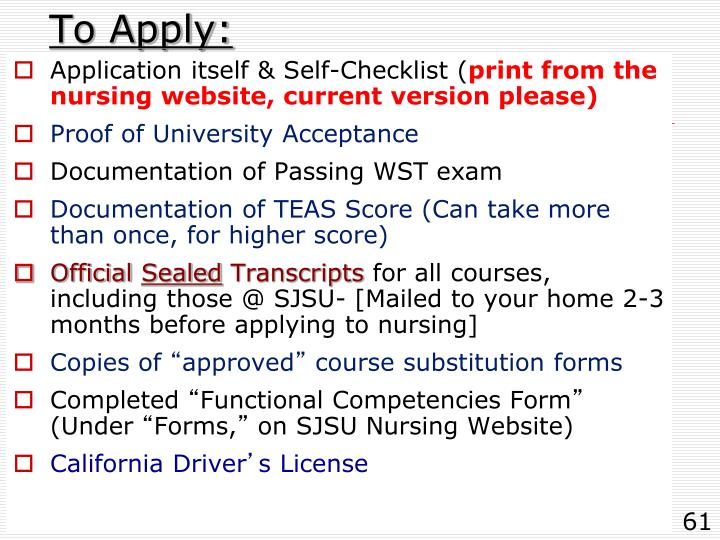 To Apply: