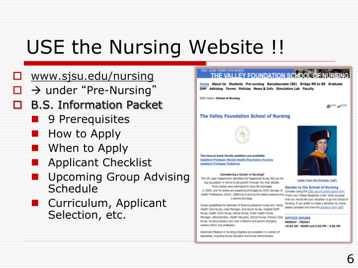 USE the Nursing Website !!