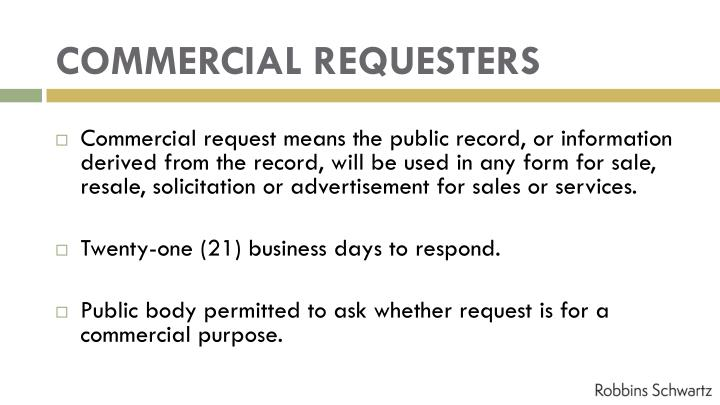 COMMERCIAL REQUESTERS