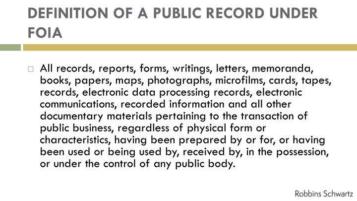 DEFINITION OF A PUBLIC RECORD UNDER FOIA