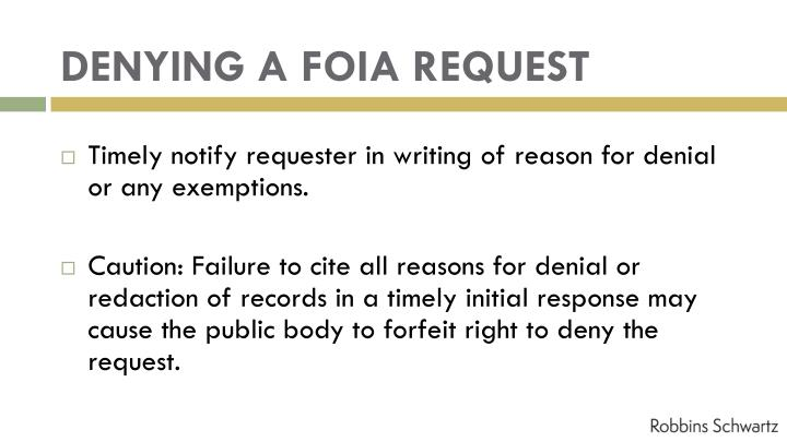 DENYING A FOIA REQUEST