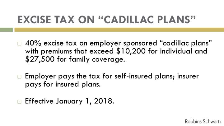 "EXCISE TAX ON ""CADILLAC PLANS"""