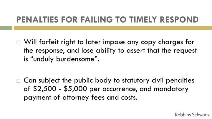 PENALTIES FOR FAILING TO TIMELY RESPOND