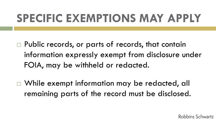 SPECIFIC EXEMPTIONS MAY APPLY