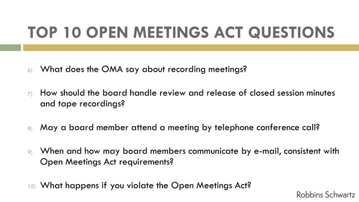 TOP 10 OPEN MEETINGS ACT QUESTIONS